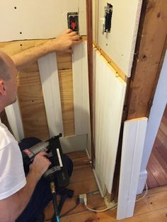 Putting up wainscoting Wainscoting, Laundry Room, Cottage, Timber Cladding, Panelling, Wall Trim, Laundry Rooms, Cottages, Cabin