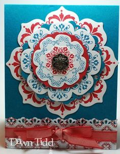 handmade card: Daydream Medallions, Delicate Doily Sizzlit and Floral Framelits team up for Island Indigo, Riding Hood Red and White ... luv it!! ...Stampin' Up!