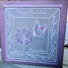 Jayne's Fuschia and Alphabet picture frame plates Groovi card created by Vicki