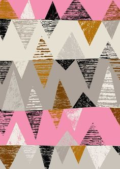 Abstract geometric chevron, triangle pattern in pink, grey, white, black and ochre Geometric Pattern Design, Graphic Patterns, Surface Pattern Design, Pattern Art, Design Patterns, Triangle Pattern, Stripe Pattern, Motifs Textiles, Textile Patterns