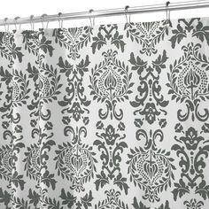 InterDesign Damask Fabric Shower Curtain, 180 x 180 cm - Charcoal Gray