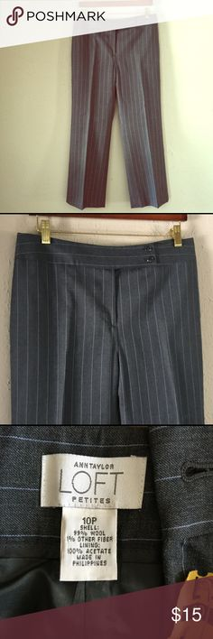 "LOFT Wool Pinstripe Pants Ann Taylor Loft Gray Wool Slacks, Fully Lined, mid-rise, with straight, wide legs. These are in excellent condition.  99% Wool 1% other fiber Inseam: 26.5"" Waist: 16"" LOFT Pants Straight Leg"