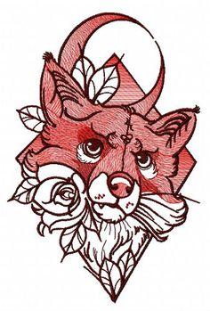Angry fox machine embroidery design  . Machine embroidery design. www.embroideres.com