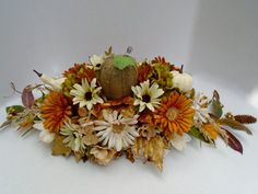 Fall Floral Rustic Centerpiece Dining Table by NaturesTrueArt