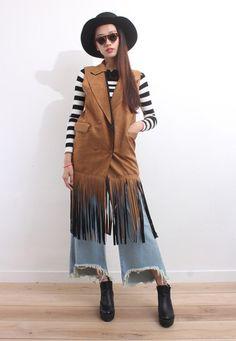 Bohemian Style Tassel Hem Long Jacket