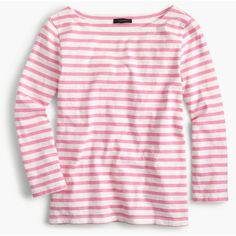 J.Crew Striped Boatneck T-Shirt ($40) ❤ liked on Polyvore featuring tops, t-shirts, cotton t shirts, striped t shirt, stripe boatneck tee, loose t shirt and loose tee