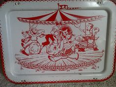 Vintage Child's Metal Tray with a Carousel of by maggiecastillo, $20.00