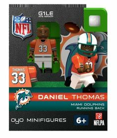 NFL Miami Dolphins Daniel Thomas Figurine by OYO. $5.99. New Officially licensed building toy figures of your favorite NFL player with rotating arms bending knees and player likeliness. Comes with football helmet and facemask water bottle football cap rectangular stand and a unique OYO DNA number.