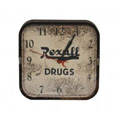 """original and fully functional american depression era """"rexall drugs"""" wall-mount electric clock with chrome accent - crystal manufacturing co., chicago, il #clock #vintage #antique"""