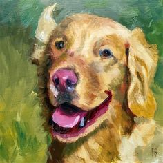 """Daily Paintworks - """"Golden Retriever Portrait Painting"""" - Original Fine Art for Sale - © Fred Bell"""