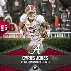 Cyrus Jones. Special Teams Player of the Week. #BAMAvsUGA #RollTide