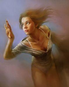Artist: Steve De La Mare {contemporary figurative fantasy art painter beautiful female décolletage standing woman cropped painting}