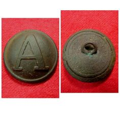 """A really pretty excavated coat size Confederate """"Lined A"""" button recovered on private property from a Confederate camp near Richmond, VA. It is a """"CS102-A2"""" with Superior Quality backmark, smooth brown patina, and shank intact."""