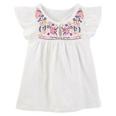Toddler Girl OshKosh B'gosh® Floral Embroidered Top, Size: 3T, White
