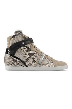 9 Wedge Heel Sneakers: Barbara Bui Python-Skin Trainers from Blue & Cream. #Stylish365
