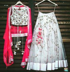 Designer Lehenga & Choli for any Wedding Purpose For Bridemaids. To Customised this garment log on to Indian Gowns Dresses, Indian Fashion Dresses, Dress Indian Style, Indian Designer Outfits, Indian Outfits, Bridal Dresses, Indian Designers, Indian Lehenga, Lehenga Choli