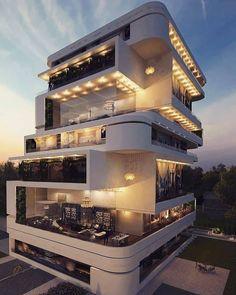 Modern Architecture House, Modern Buildings, Amazing Architecture, Architecture Design, Modern Exterior, Exterior Design, Seaside Apartment, Apartment Design, Best Modern House Design
