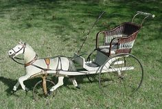 original German skin covered horse with carriage stroller Antique Rocking Horse, Rocking Horse Toy, Antique Toys, Vintage Toys, Antique Nursery, Vintage Children Photos, Pedal Car, Wooden Horse, Horse Carriage