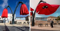 People in Jerusalem's Vallero Square may stop for a bit of relaxation under these self-inflating, huge flowers.