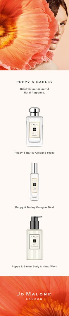 Discover Poppy & Barley Dramatic, vibrant and iconic. The poppy is our leading lady, dressed in nature's rich, abundant colours. Experience our colourful floral scent. Beauty Makeup, Beauty Tips, Beauty Hacks, Navy Blue Area Rug, Blue Area Rugs, Men Stuff, Jo Malone, Pastel Colours, Product Photography
