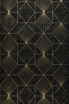 Maurus (Gold, Black, Gold) | Geometrical wallpaper | Wallpaper patterns | Wallpaper from the 70s