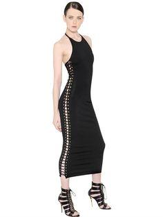 LACE-UP STRETCH VISCOSE KNIT DRESS