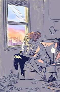 What tarot card could be this illustration? Batgirl on her day off by Becky Cloonan Cartoon Kunst, Comic Kunst, Anime Kunst, Anime Art, Art And Illustration, Illustrations, Batgirl, Art Sketches, Art Drawings