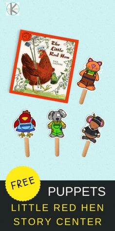 FREE The Little Red Hen Puppets - these puppets are a fun way for kids to retell this classic folktale for literacy with Retelling Activities, Book Activities, Kindergarten Lesson Plans, Kindergarten Activities, Little Red Hen Activities, The Little Red Hen Preschool, Little Red Hen Story, Free Preschool, Preschool Charts