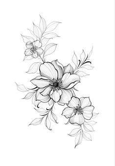 Family Tattoo Designs, Family Tattoos, Fine Line Tattoos, Cool Tattoos, Korea Tattoo, Flor Tattoo, Jungle Flowers, Flower Sketches, Tattoo Feminina