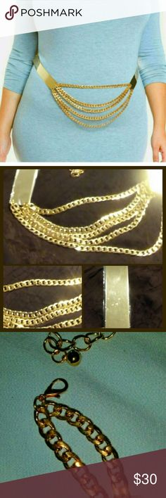 WEEKEND SALE PLUS SIZE CHAIN BELT, GOLD PLATES WHO SAYS WOMEN WITH CURVES CAN'T GET THERE STYLE ON...NOT ME !!! THIS BELT IS SO FABULOUS IT EXTENDS UP TO 51 INCHES WITH  GOLD METAL PLATES ON EACH SIDE , 5 CHAIN IN FRONT FITS SIZE 16 TO 22 , NEW WITH PLASTIC PROTECTORS OVER PLATES Accessories Belts