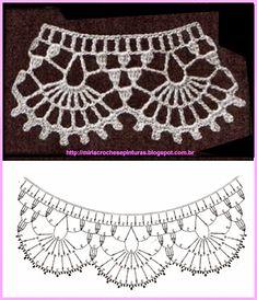 Captivating Crochet a Bodycon Dress Top Ideas. Dazzling Crochet a Bodycon Dress Top Ideas. Crochet Collar Pattern, Crochet Lace Collar, Crochet Lace Edging, Crochet Motifs, Crochet Borders, Crochet Diagram, Crochet Chart, Crochet Doilies, Crochet Stitches
