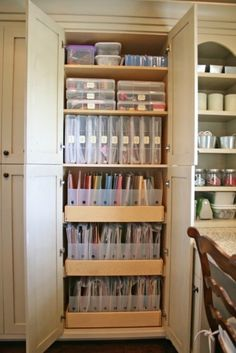 Have you ever dreamed of having an over-the-top scrapbook room with plenty of craft storage? Here are drawings and finishes for a luxury scrapbook room. Scrapbook Organization, Craft Organization, Closet Organization, Scrapbook Storage, Scrapbook Rooms, Organizing Ideas, Office Storage Ideas, Scrapbook Paper, Organizing Papers