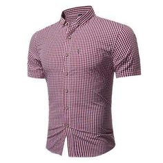 f22df0caceb Casual Classical Business Small Plaids Printing Short Sleeve Dress Shirts  for Men