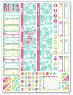 JUL Monthly View Sea Life PDF PRINTABLE Planner Stickers