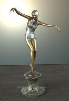A stylish and rare Art Deco Austrian bronze  figure by Josef Lorenzl, circa 1930s