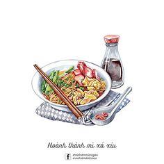 Food Design, Cute Food Art, Food Sketch, Watercolor Food, Watercolour, Food Cartoon, Food Painting, Vietnamese Recipes, Vietnamese Food