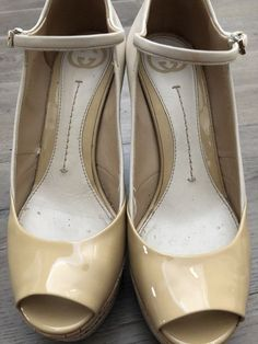 9f87f576fe2 Gucci Authentic Women s Nude Patent and Leather Platform Open Toe - 6.5   Gucci  PlatformsWedges