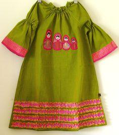 Matryoshka green and pink dress.