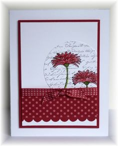 The card - background script stamp is from Stampabilities, flowers are from SU.  Colors are white, gumball and raspberry.