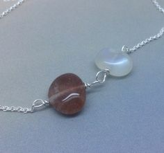 AA Moonstone and Sunstone necklace June by MingJewelsChic on Etsy