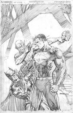 Jim Lee variant cover for Batman/Superman featuring the Flash! Batman Vs Superman, Batman Comics, Fun Comics, Jim Lee Superman, Comic Book Artists, Comic Artist, Comic Books Art, Steel Dc Comics, Superhero Sketches