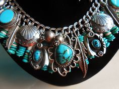 Native Hair Pipe Vintage Turquoise Charms Bench Beads Feathers Charm Bracelet   eBay