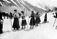 Course de ski de fond pour dames. Chamonix, 1908.
