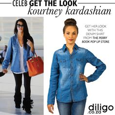 CELEB GET THE LOOK: KOURTNEY KARDASHIAN Kourtney Kardashian, Denim Shirt, Get The Look, Celebs, Jackets, Fashion Design, Shirts, Tops, Dresses