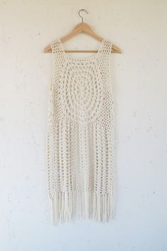 Karma Crochet Vest | Modern Bohemian Beige Crochet Fringe Vest - Velvet Moon | a modern bohemian boutique