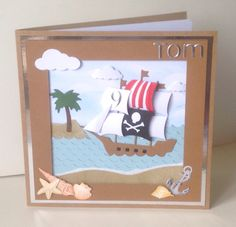 For my nephew's 9th birthday using Xcut nautical and letter dies, Memory Box clouds and Marianne designs shells and anchor dies. Chalk inks to colour and make the cloudy background sky.