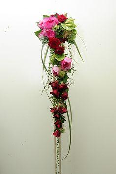 Long, narrow cascade bouquet.