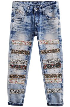 Shop Floral Bleached Bead Denim Pant at ROMWE, discover more fashion styles online. Handmade Clothes, Custom Clothes, Diy Clothes, Bleach Shirt Diy, Altering Jeans, Hippie Jeans, Jeans Refashion, Patchwork Jeans, Denim Crafts