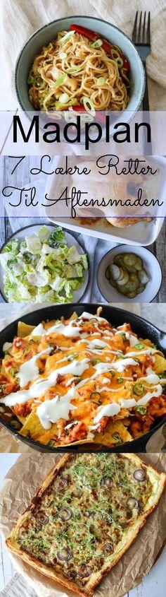 Mandag: Kylling i karry med grøntsager.  Tirsdag: Chow mein - Stegte nudler med grøntsager (kød kan tilføjes, hvis man ønsker det). Onsdag: Cremet champignontærte med salat til.  Torsdag: Romainesalat vendt med parmesansauce og dertil helstegt kylling. Fredag: Chilaquiles (nachos med salsa og kylling), det er jo fredag! Lørdag: Kartoffelkroketter med confiteret and, dertil salat og dressing.  Søndag: Crunch wraps med kylling. #Madplan #Opskrifter #Aftensmad