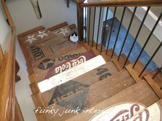 Fun idea for steps to the basement!Funky Junk Interiors: Welcome to The Parade of Homes, stop #1!